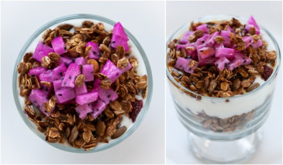 dragon-fruit with granola